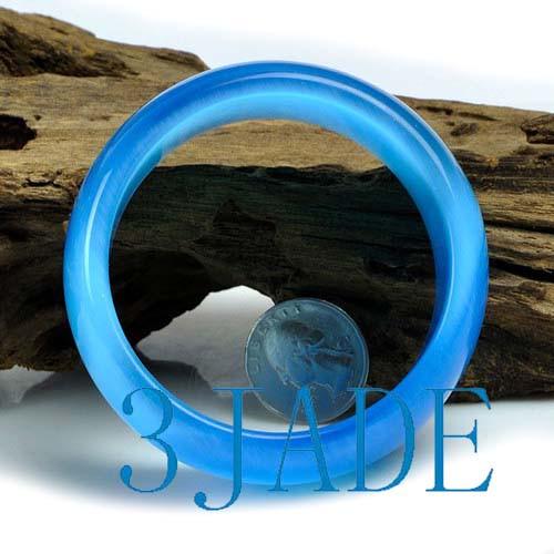 62mm Synthetic Light Blue Opal / Cat Eye Chunky Bangle Bracelet -C034025