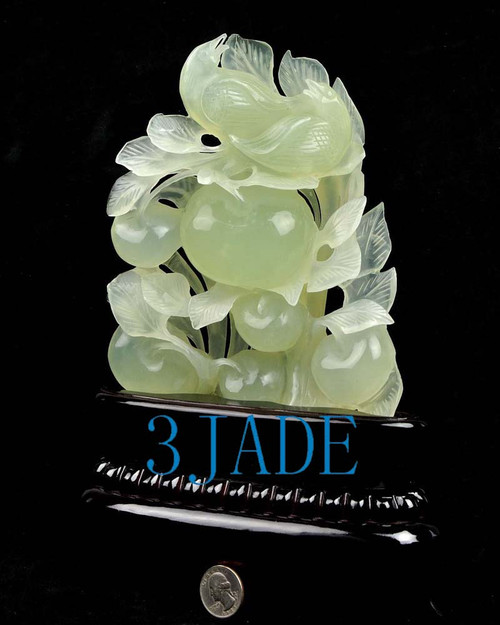 Natural Xiu Jade / Serpentine Carving: Bird Flower Statue Sculpture -J004006