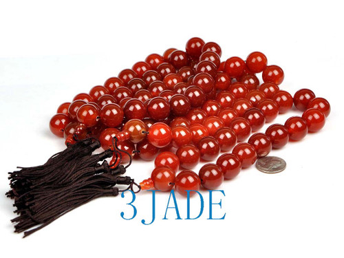 20mm red agate prayer beads mala