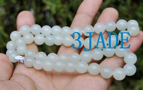 "18"" White Hetian Nephrite Jade Beads Necklace"