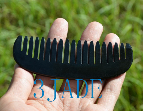 black nephrite jade hair comb