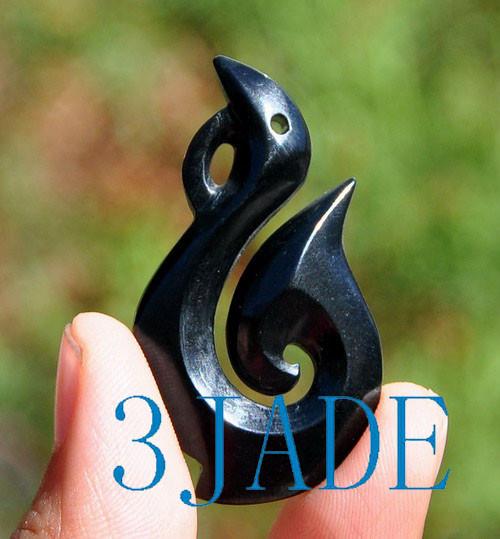 black jade Hei Matau Necklace
