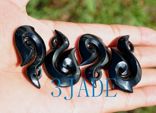 black nephrite jade pendant