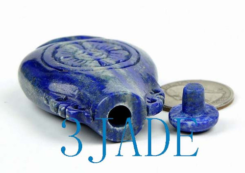 Hand Carved Natural Lapis Lazuli Snuff Bottle Chinese Carving -N009181