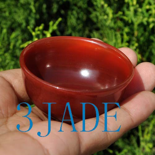 56mm Hand Carved Carnelian / Red Agate Cup / Bowl Stone Shot Glass -N013144