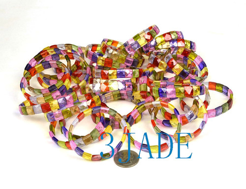 Faceted Flat Square Rainbow Zircon Beads Bracelet