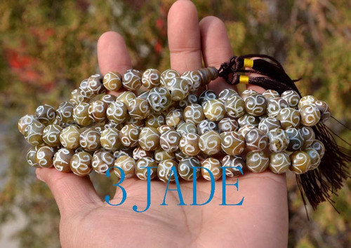 Carved flower jade Prayer Beads