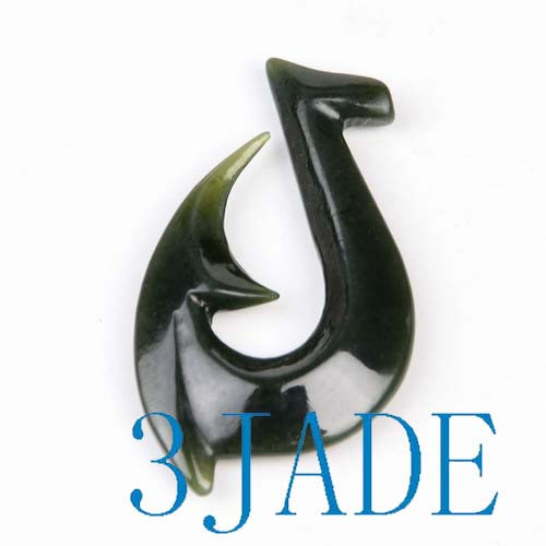 Jade Hei Matau Pendant Fish Hook Necklace