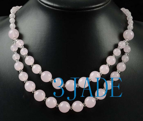 Pink Jade Beads Necklace