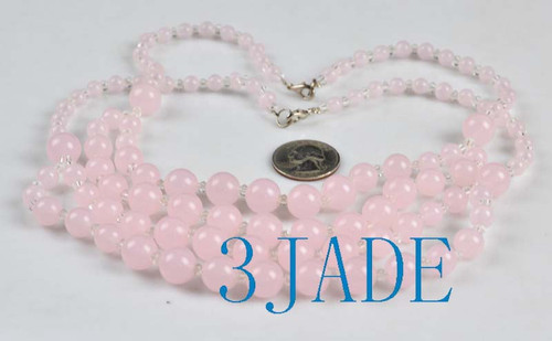 "18"" Charming Pink Jade / Serpentine 6-12mm Beads Necklace -D010012"