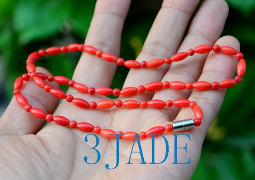 Red Coral Drum Beads Necklace