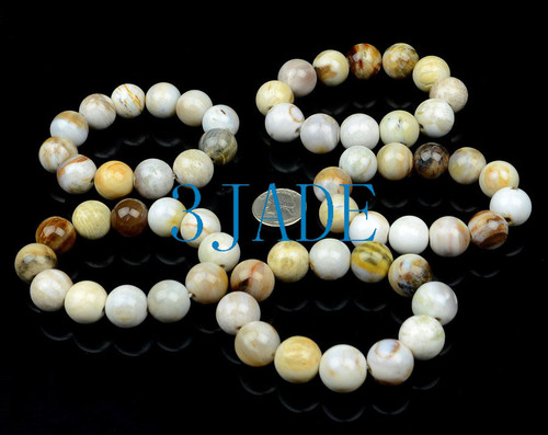 17mm Natural Petrified Wood Fossil/Gemstone Beads Bracelets wholesale