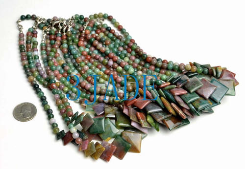 multi-color agate beads necklace