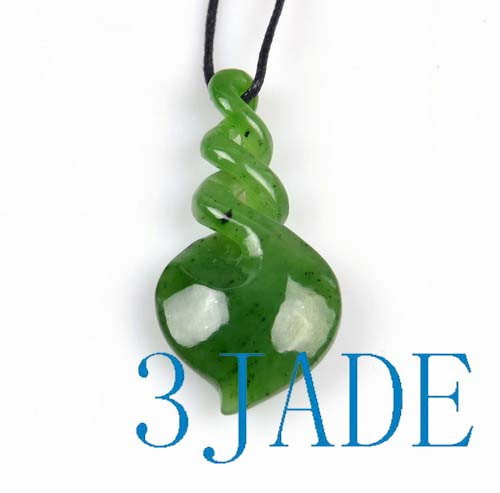 green jade triple twist pendant