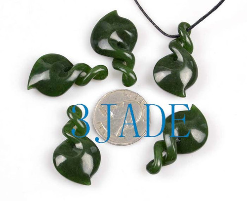green jade double twist pendant