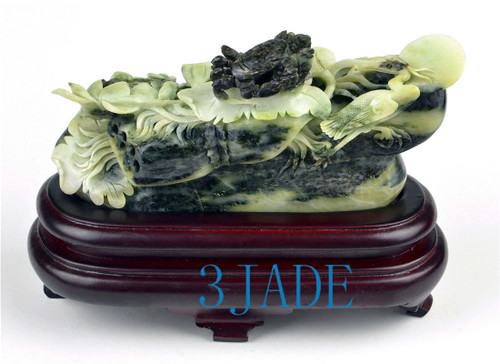 Natural Dushan Jade Stone Lotus / Crab Carving Statue Sculpture -J003502