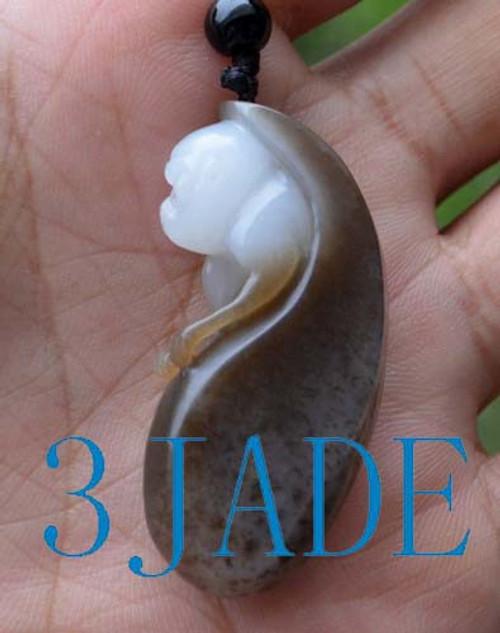 Hetian jade monkey pendant