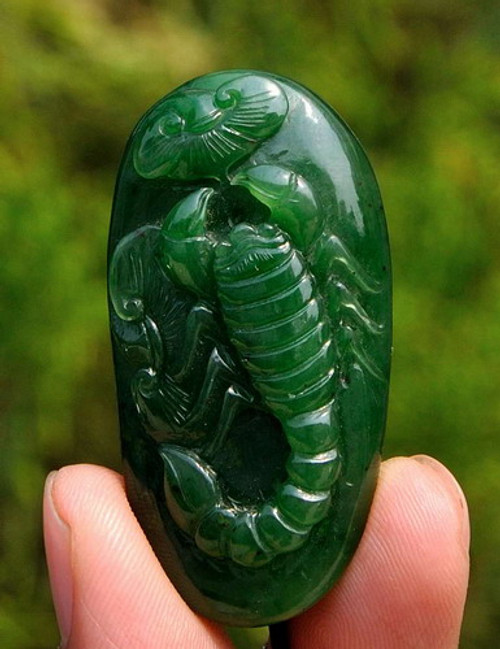 Green jade Scorpion pendant