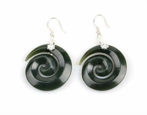 jade swirl earrings