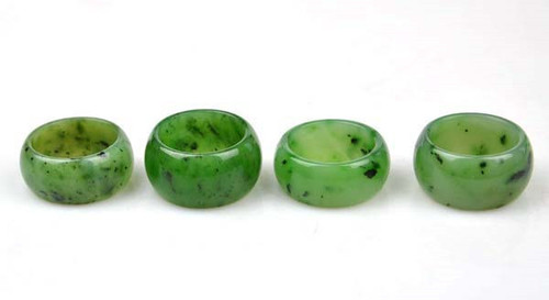 green nephrite jade ring, size 10