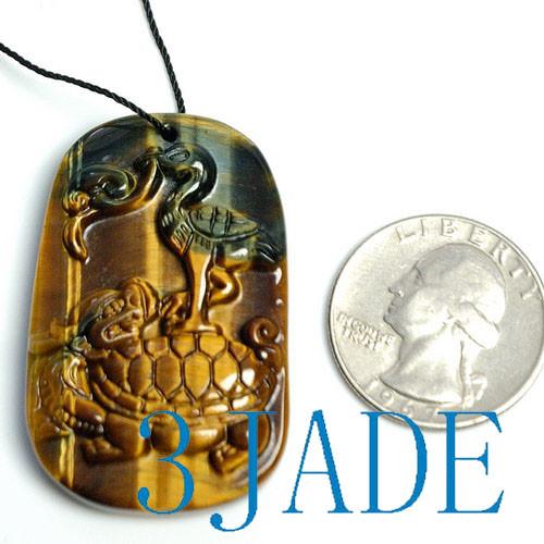 tiger's eye crane turtle pendant