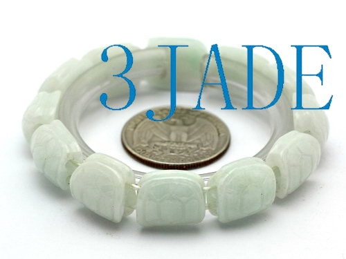 carved jadeite jade turtle shell beads bracelet