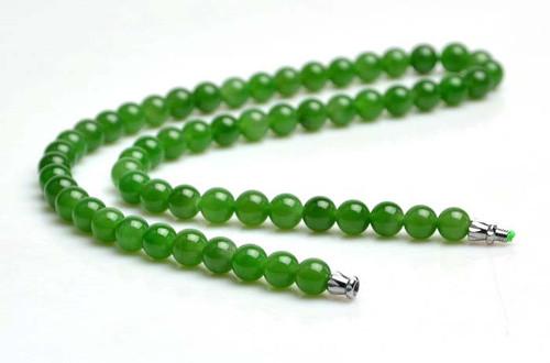 A Grade Green Nephrite Jade Beads Necklace