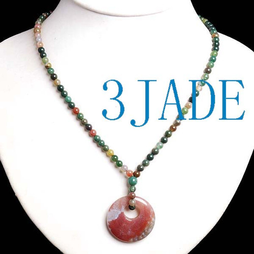 Moss Agate Donut Beads Necklace