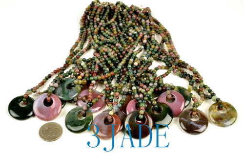 Moss Agate  Disc Beads Necklace