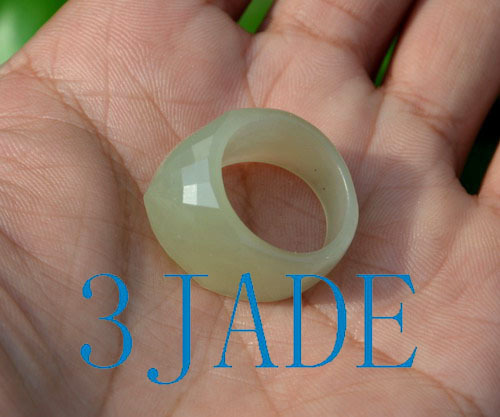 faceted nephrite jade ring