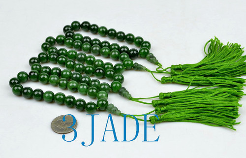green nephrite jade prayer beads