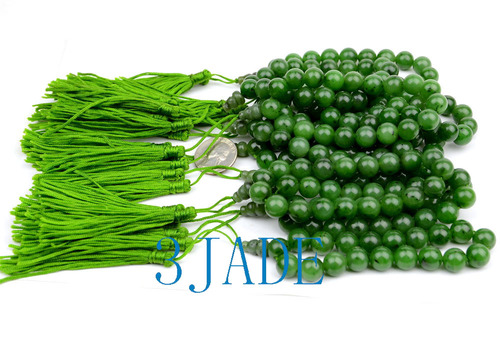 green nephrite jade 18 beads wrist mala