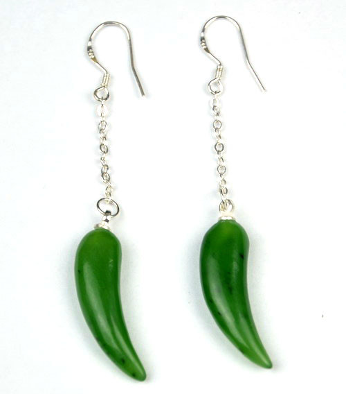 green nephrite jade earrings.