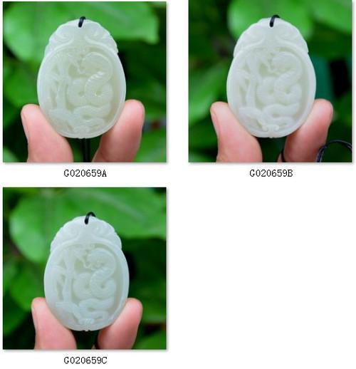 Hetian jade snake pendant