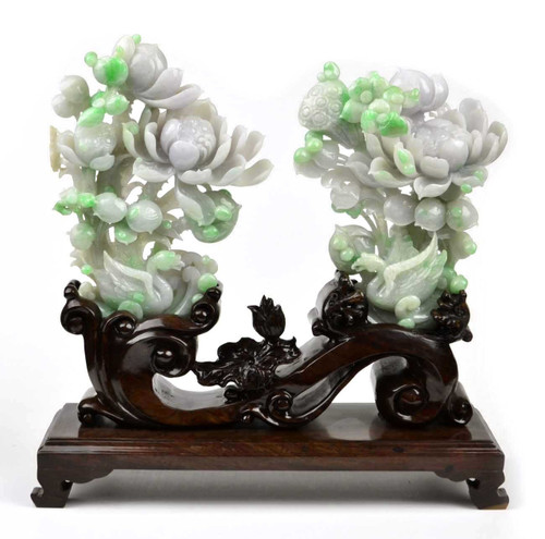 jadeite jade flower statues