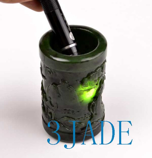 green nephrite jade pen holder