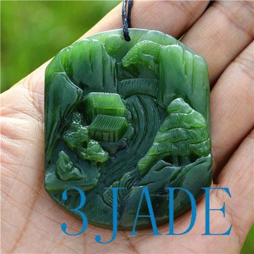 jade Chinese landscape pendant