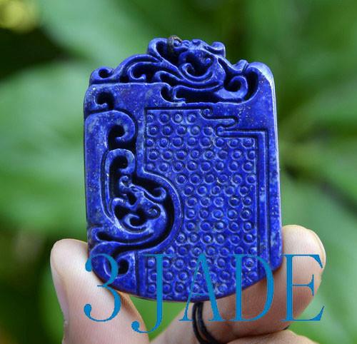 Natural Lapis Lazuli Ancient Style Dragon Pendant Necklace