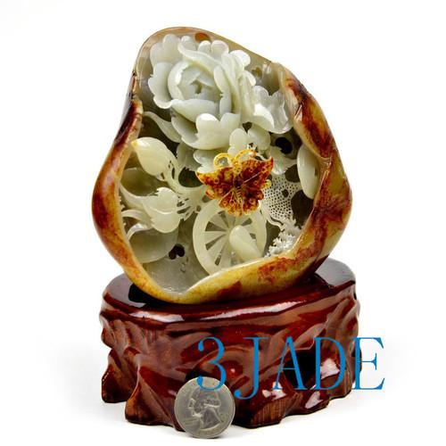 Hetian jade flower