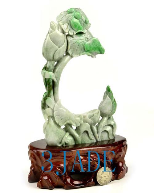 A Grade Green Jadeite Jade Lotus Flower Statue Carving Sculpture w/ certificate