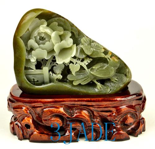 Hetian Seed Jade Bird Flower Statue