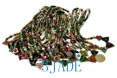 """17"""" Natural Multicolor Moss Agate Heart Lock Beads Necklace"""