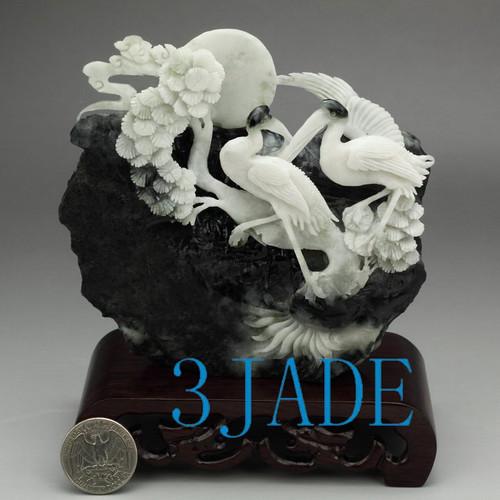 Dushan jade heron in pine tree