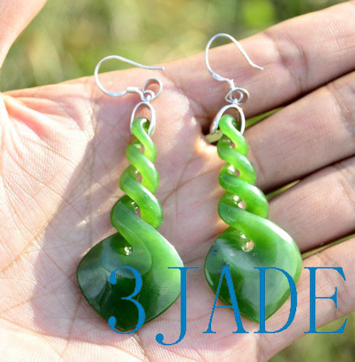 Green Jade Quad Twist Earrings