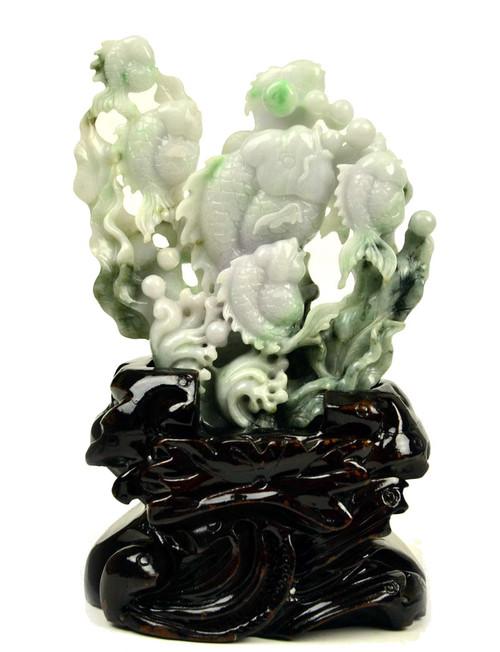 A Grade Jadeite Jade Fish Statue Sculpture