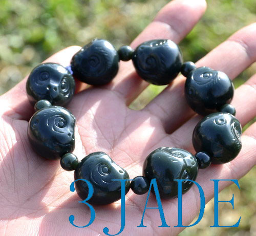hand carved jade monkey beads