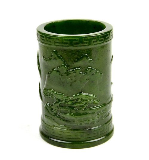 jade Chinese calligraphy brush cup