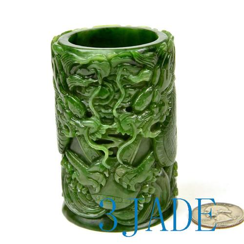 green nephrite jade pen holder