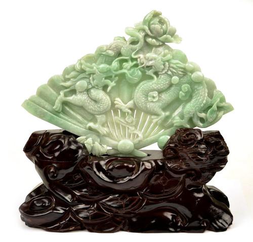 jadeite jade dragons fan statue