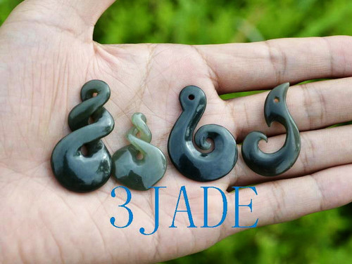 4 New Zealand Maori Design Nephrite Jade Koru Twist Manaia Pendants Various Shape Necklaces Wholesale